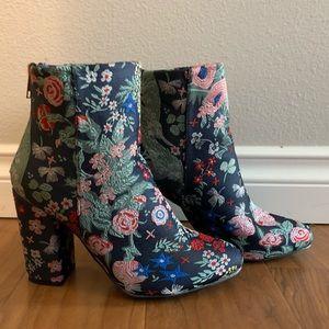 Shoes - Floral bootie heels